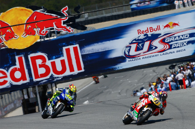 Stefan Bradl and Valentino Rossi were on the podium at Laguna Seca. Image: MotoGP.com.