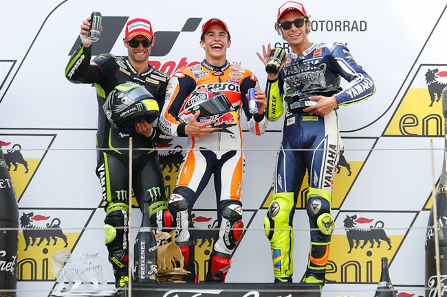 Marquez wins from Crutchlow and Rossi. Image: MotoGP.com.