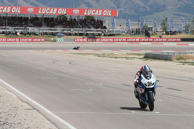 Suzuki's Martin Cardenas won both AMA Superbike races at Miller Motorsports Park in Utah. Image: Brian J Nelson/AMA Pro Racing.
