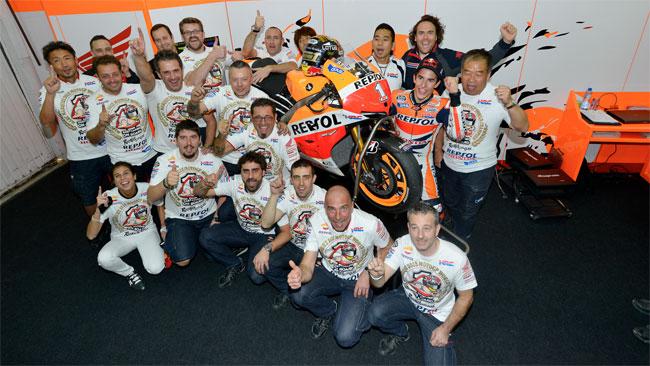 Marc Marquez and Repsol Honda celebrate the 2013 MotoGP World Championship.
