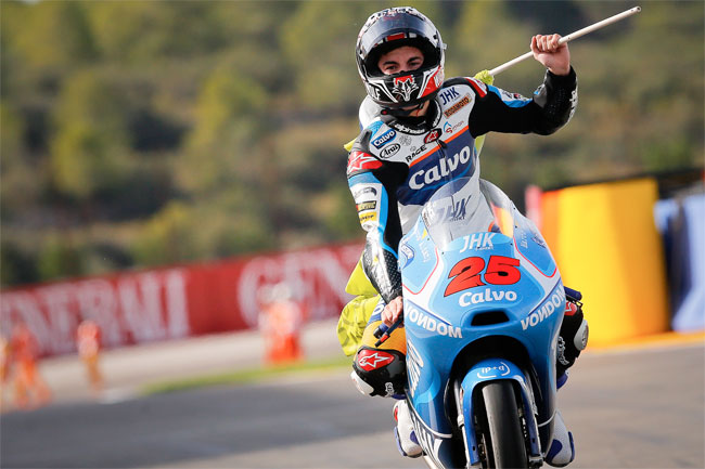 Maverick Vinales won a nail-biting Moto3 finale to clinch the title in Spain.