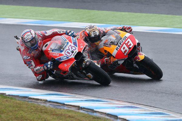 Dovizioso edges Marquez in wet Motegi MotoGP thriller